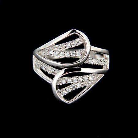 Amiatex Ezüst gyűrű 14929 + Nőin zokni Gatta Calzino Strech, 53