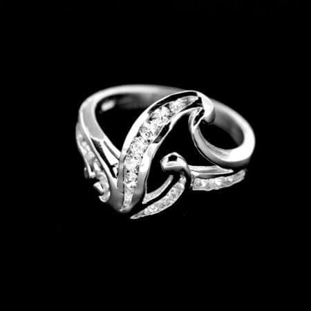 Amiatex Ezüst gyűrű 14981 + Nőin zokni Gatta Calzino Strech, 49