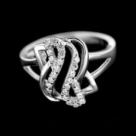 Amiatex Ezüst gyűrű 14936 + Nőin zokni Sophia 2pack visone, 54