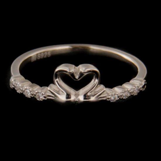 Amiatex Strieborný prsteň 60867 + Nadkolienky Sophia 2pack visone, 49