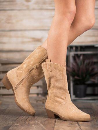 Designové dámské kotníčkové boty hnědé na širokém podpatku, odstíny hnědé a béžové, 39