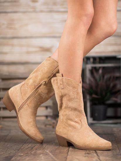 Designové dámské kotníčkové boty hnědé na širokém podpatku, odstíny hnědé a béžové, 38