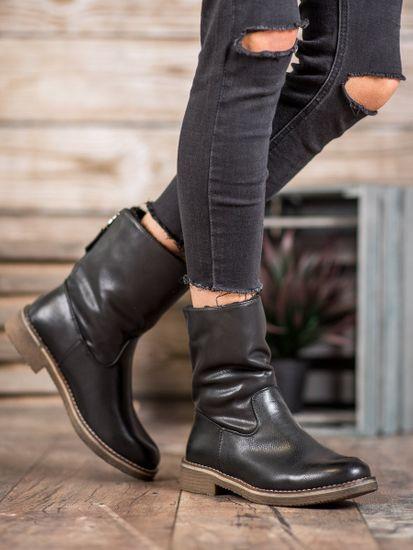 Exkluzívní dámské černé kotníčkové boty na plochém podpatku, černé, 36