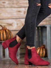 Výborné kotníčkové boty červené dámské na širokém podpatku