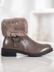 Trendy hnědé kotníčkové boty dámské na plochém podpatku