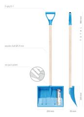 Prosperplast otroška lopata za sneg, modra, lesen ročaj + pvc držalo