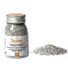 Decora Cukrové zdobení mini perličky 1,5mm bílo stříbrné 100g