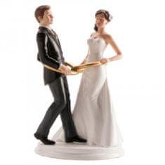 Dekora Svatební figurka na dort 20cm připoutaní k sobě