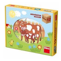 Dino DOMÁCÍ ZVÍŘÁTKA 12 Dřevěné kostky