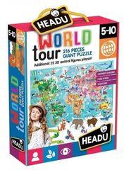 Headu Puzzle Cesta kolem světa 216 dílků s 3D zvířátky