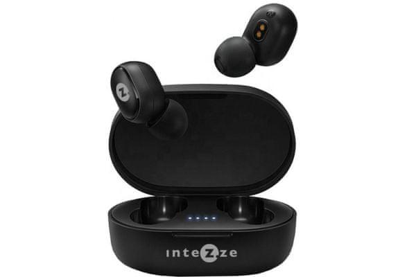přenosná bezdrátová sluchátka intezze zero miniaturní provedení Bluetooth baterie 90 mah výdrž 3h pohodlná v uších díky ergonomickému tvarování stylové nabíjecí pouzdro 280 mah baterie ovládací tlačítko na sluchátku mikrofon pro handsfree hovory