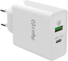 CELLY PRO POWER cestovná nabíjačka s USB-C a USB TCUSBC18WWH, biela