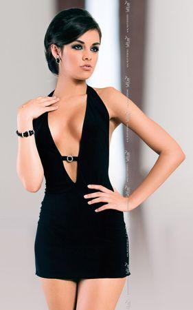 SoftLine Női erotikus ruha Marika + Nőin zokni Sophia 2pack visone, fekete, S/M