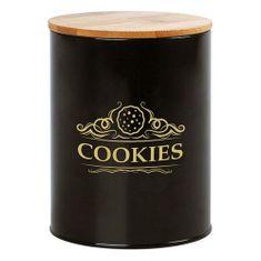 BigBuy Plechová dóza Cookies černá