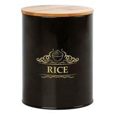BigBuy Plechová dóza černá Rýže