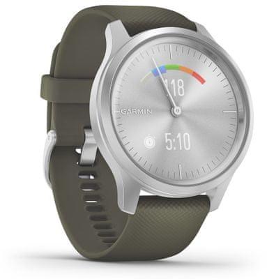 Hybridné chytré hodinky Garmin vivomove Style, skrytý farebný AMOLED displej, reálne analógové ručičky, ovládanie hudobného prehrávača, sledovanie fyzickej aktivity, bezkontaktné platby Garmin Pay, NFC