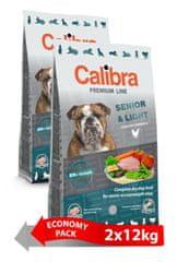 Calibra Premium Line Senior in Light hrana za starejše ali prekomerne težke odrasle pse, 2 x 12 kg