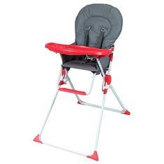 Bambikid dětská vysoká jídelní židlička - šedá/červená