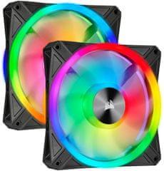 Corsair iCUE QL140 RGB, 2x140mm, Lighting Node CORE, čierny