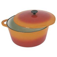 Crealys kulatý litinový kastrol s pokličkou, 2,5 l, oranžový