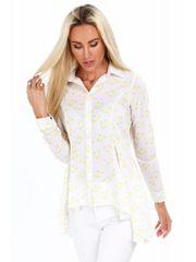 Amando Dámska košeľa so vzorom 2080, biela/žltá