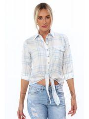 Amando Dámska košeľa s viazaním vpredu MP26335, modrá