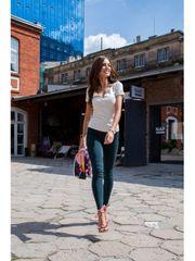 Amando Dámske priliehavé džínsové nohavice 552 tmavozelené