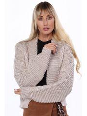 Amando Teplý sveter s vrkočovým vzorom 0352 béžový