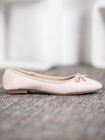 Női balerina cipő 61295, bézs és barna árnyalat, 37