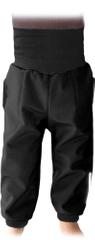 Jožánek Dětské SOFTSHELLové kalhoty s náplety a regulací pasu, černá