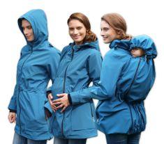 Jožánek ALICE 2- softshellová těhotenská a nosící bunda (pro nošení vpředu/vzadu), PETROLEJOVÁ, S/M