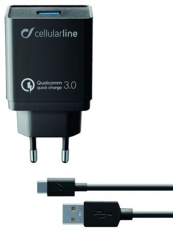 CellularLine USB adaptert és USB-C kábel tartalmazó töltő szett, Qualcomm Quick Charge 3.0, 18 W, fekete ACHHUKITQCTYCK