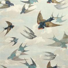 JOHN DERIAN Tapeta CHIMNEY Swallows SKY BLUE, kolekcia PICTURE BOOK PAPERS