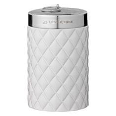 Lene Bjerre Wysoki słoik łazienkowy z pokrywką PORTIA biały ze srebrną pokrywką