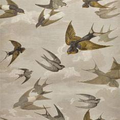 JOHN DERIAN Tapeta CHIMNEY Swallows SKY SEPIA, kolekcia PICTURE BOOK PAPERS