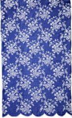 Lene Bjerre Modrý běhoun na stůl CATIE s bílou výšivkou, 50 x 140 cm