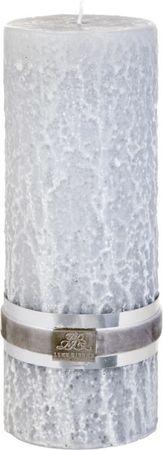 Lene Bjerre Okrasna sveča s kamnito strukturo, KAMEN, svetlo siva, velikost L, čas gorenja 175 ur