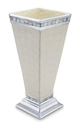 Julia Knight Duży wazon aluminiowy CLASSIC z perłową mozaiką, kremowo-biały