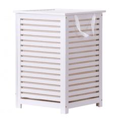 Kôš na bielizeň, lakovaný bambus/biela/béžová, BASKET