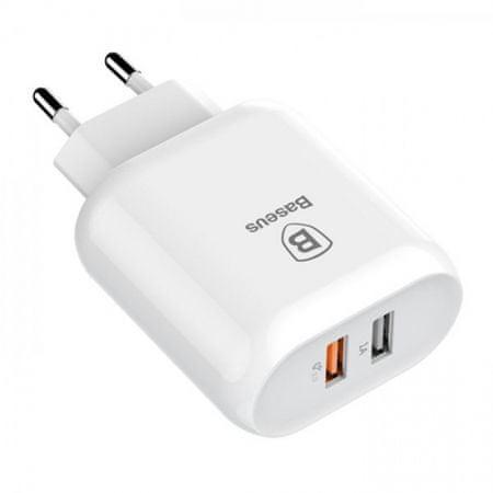BASEUS Dual-USB polnilec, Quick Charge 3.0, 18 W