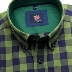 Willsoor Pánská slim fit košile London (výška 176-182) 6107 v zelené barvě s kostkou a formulí Easy Care