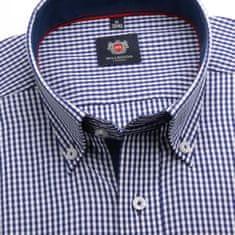 Willsoor Pánská slim fit košile London (výška 176-182) 6192 s bílo-modrou kostkou a formulí 2W Plus