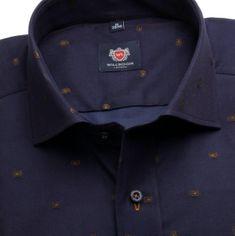 Willsoor Pánská slim fit košile London (výška 176-182) 6290 ve tmavě modré barvě s krátkým italským límečkem