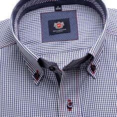 Willsoor Pánská slim fit košile London (výška 176-182) 6078 s bílo-modrou kostkou a formulí Easy Care
