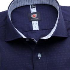 Willsoor Pánská slim fit košile London (výška 176-182) 6331 ve tmavě modré barvě s formulí Easy Care