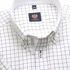 Willsoor Pánská slim fit košile London (výška 176-182) 6387 v bílé barvě s černou kostkou a krátkým rukávem