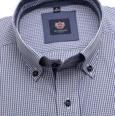 Willsoor Pánská slim fit košile London (výška 188-194) 6076 s bílo-modrou kostkou a formulí Easy Care