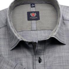 Willsoor Pánská slim fit košile London (výška 176-182) 6480 s krátkým rukávem v šedé barvě