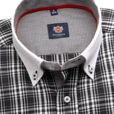 Willsoor Pánská klasická košile London (výška 176-182) 5966 s bílo-černým kárem a formulí 2W Plus
