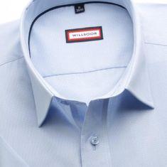 Willsoor Pánská slim fit košile s krátkým rukávem(výška 176-182) 7745 v modré barvě s úpravou easy care